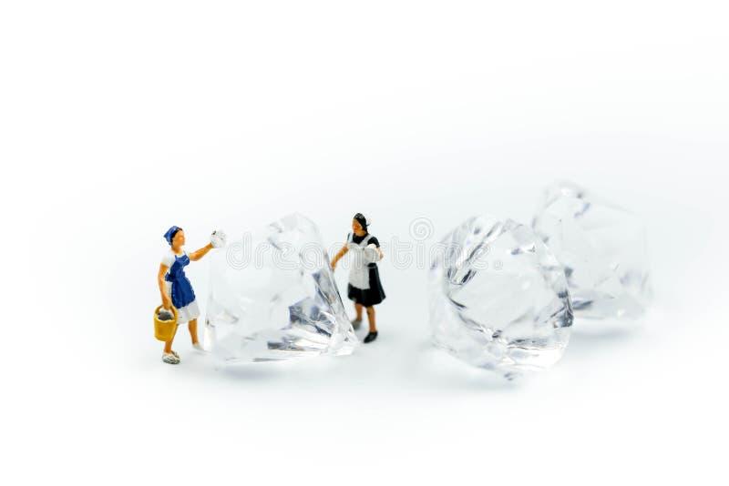微型人民:在金刚石的佣人或主妇清洁 库存图片