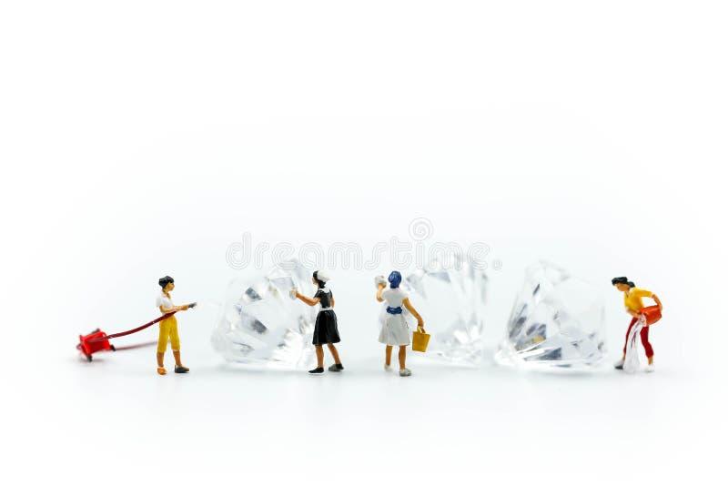 微型人民:在金刚石的佣人或主妇清洁 库存照片
