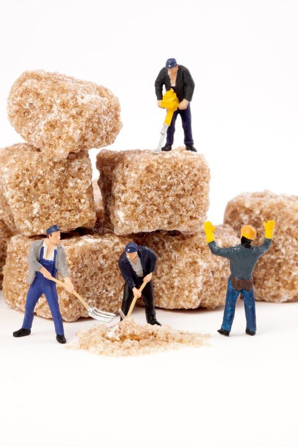 微型人民:工作者减少红糖块在搽粉的糖的 免版税库存照片