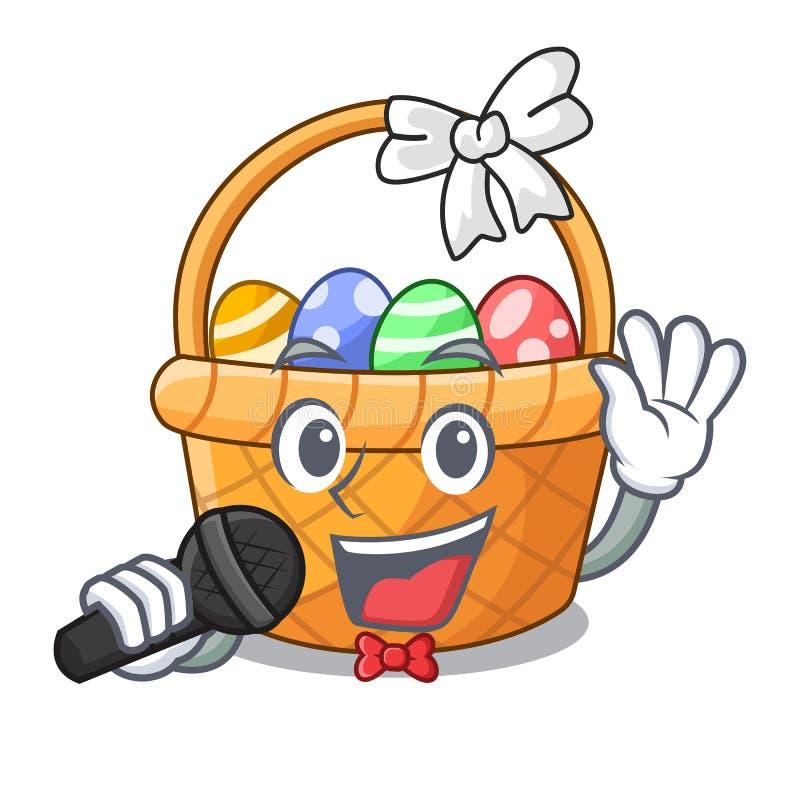 微型唱歌复活节的篮子形状吉祥人 向量例证