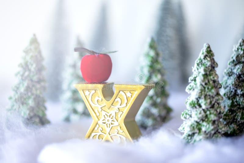 微型多雪的圣诞树在森林Bokeh光背景中 免版税库存照片