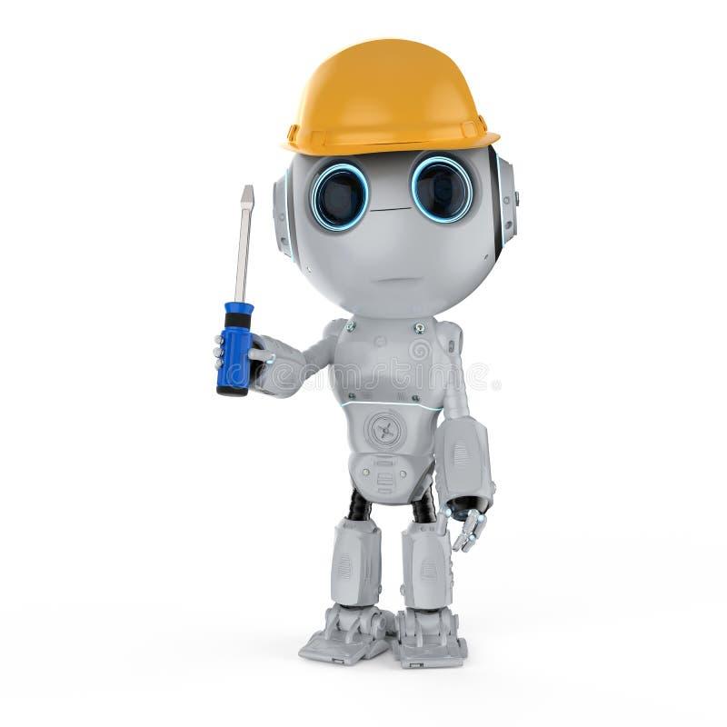 微型工程师机器人 向量例证