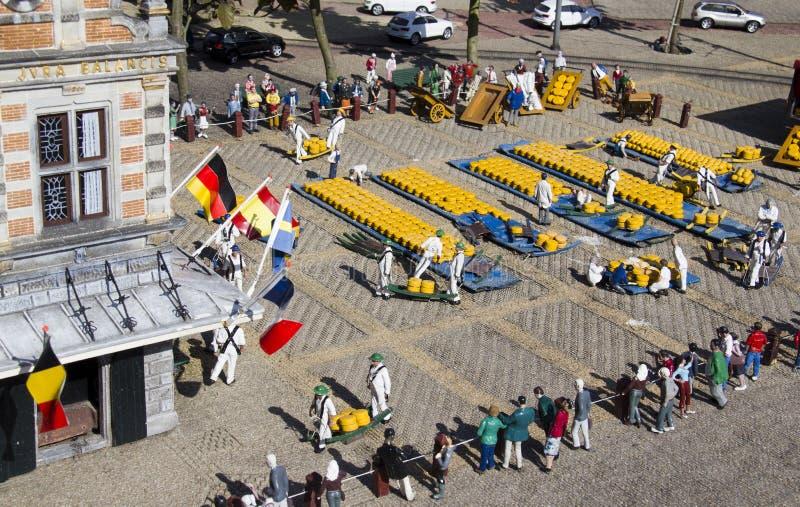 微型干酪市场在Madurodam 图库摄影