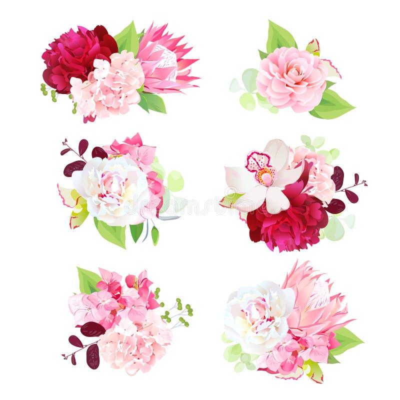 微型春天混合了花和叶子花束  皇族释放例证