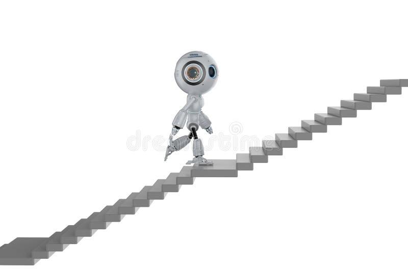 微型机器人攀登台阶 向量例证