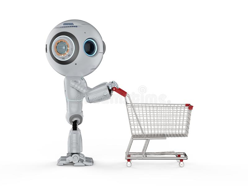 微型机器人购物 向量例证