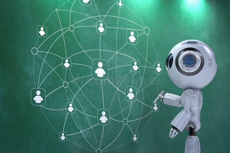 微型机器人连接到社会网络 向量例证