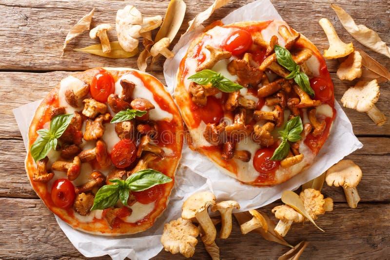 微型比萨用黄蘑菇蘑菇、无盐干酪乳酪、蕃茄和蓬蒿特写镜头 E 库存图片