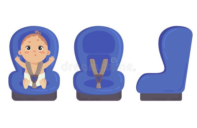 微型汽车位子 旁边和前面安全椅子 皇族释放例证