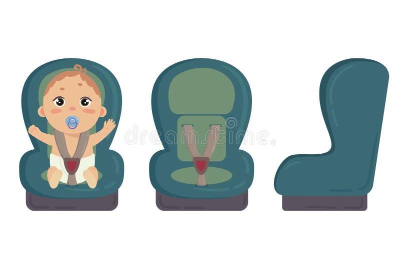 微型汽车位子 旁边和前面安全椅子 库存例证