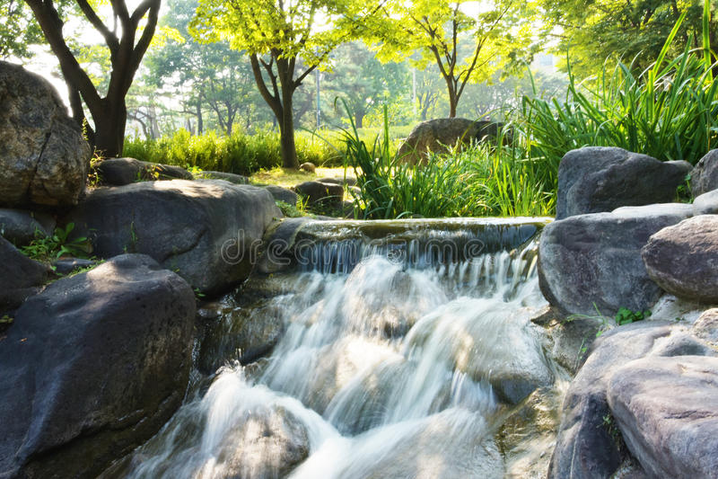 微型瀑布在公园 免版税库存照片