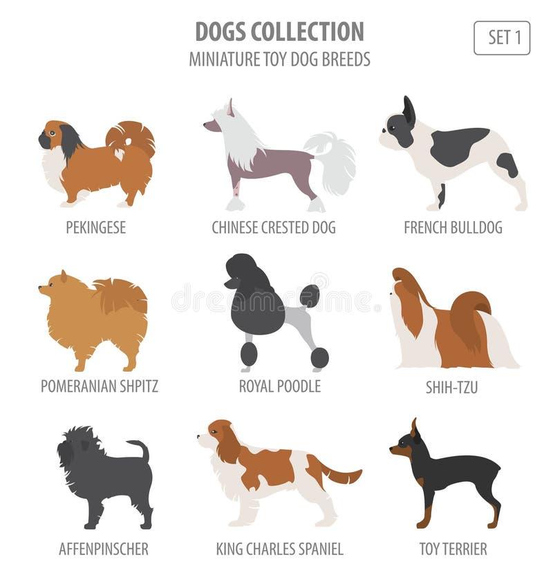 微型玩具狗助长在白色隔绝的收藏 平面 向量例证