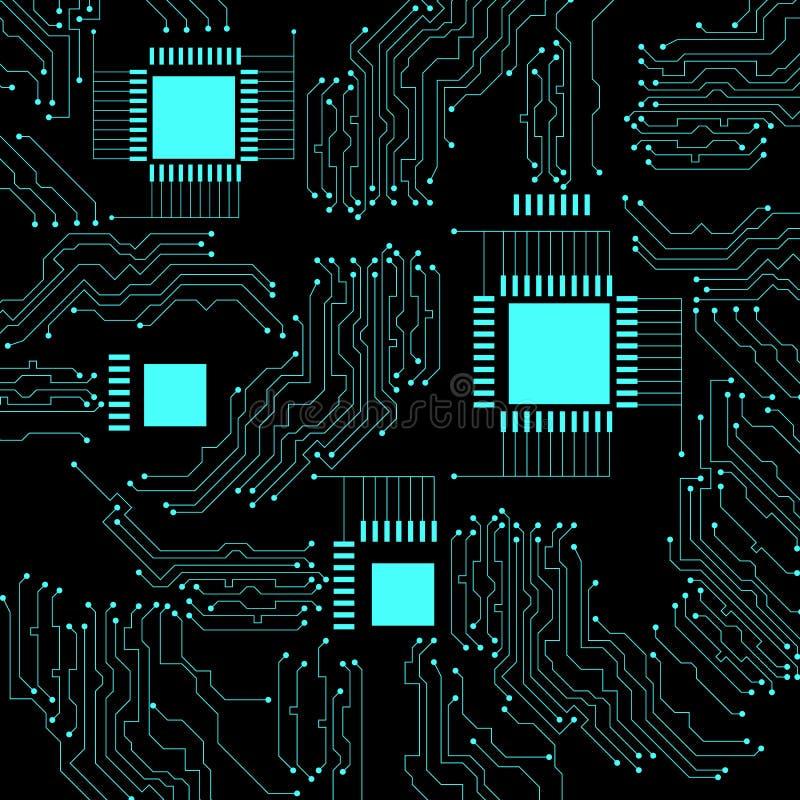 微型电路 抽象背景techno 黑背景,鲜绿色元素 向量例证