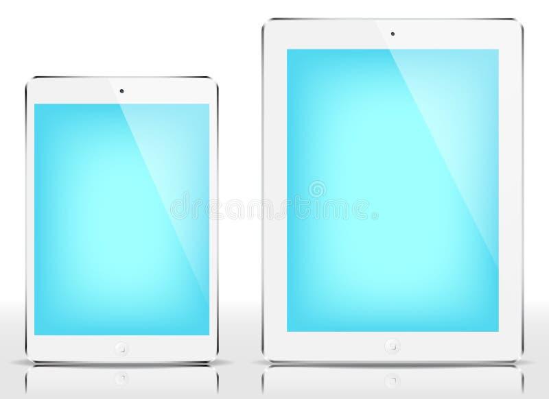 微型的IPad & iPad -蓝色屏幕 皇族释放例证
