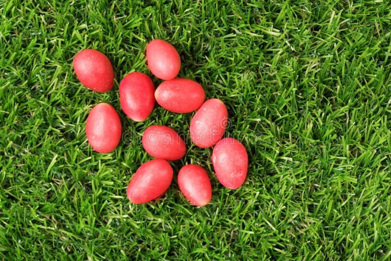 微型红色糖果鸡蛋 库存图片