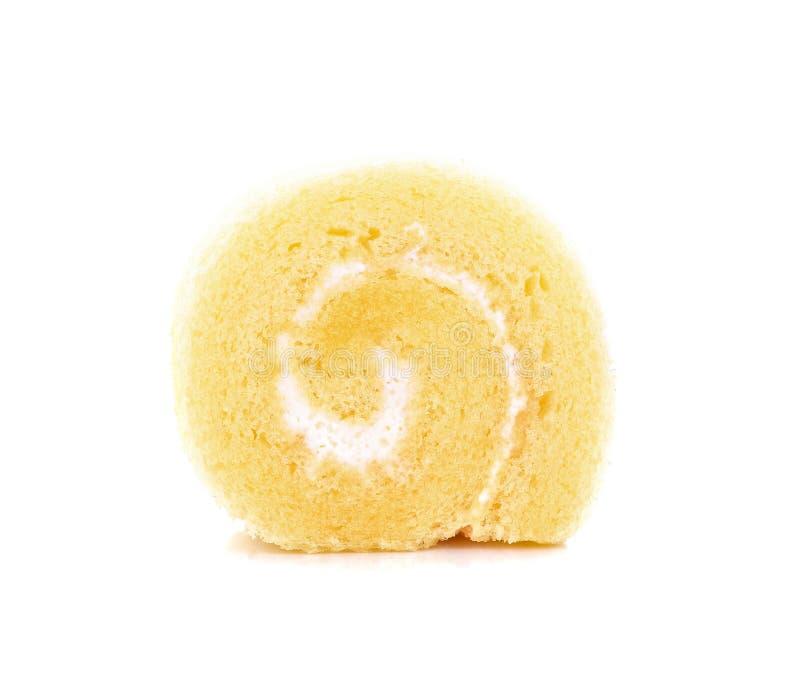 微型花梢果酱卷在白色背景设置了 免版税图库摄影