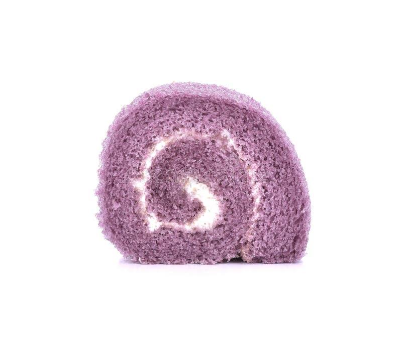 微型花梢果酱卷在白色背景设置了 库存图片