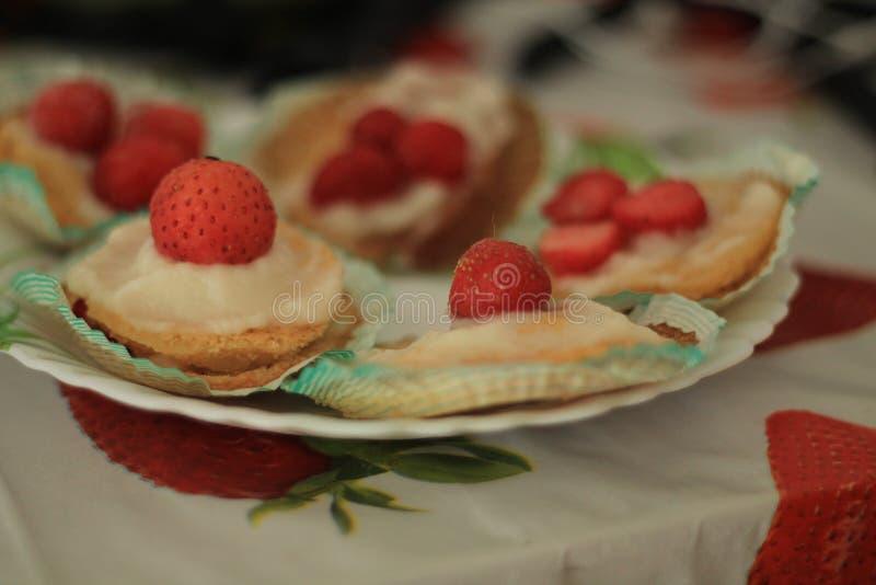 微型草莓脆饼 免版税库存照片