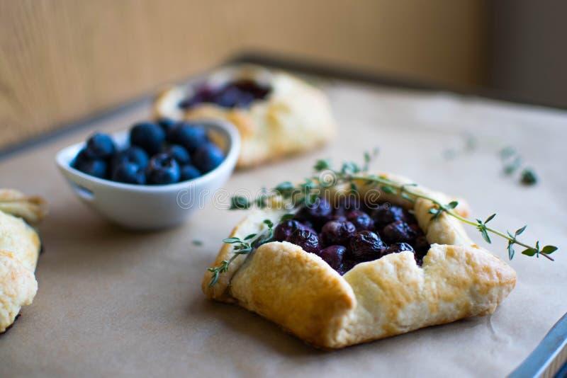 微型蓝草莓饼 免版税图库摄影