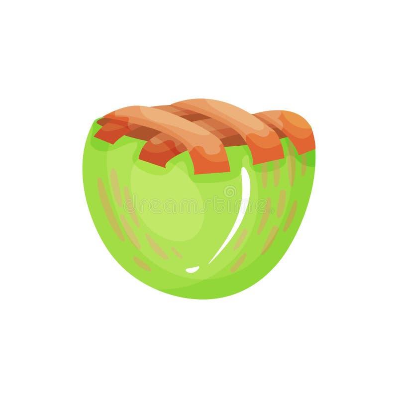 微型被烘烤的苹果饼五颜六色的象  与酥脆外壳健康吃的可口果子点心 素食营养 向量例证