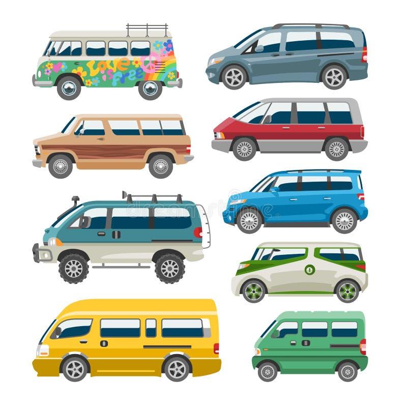 微型货车汽车传染媒介搬运车自动车家庭小巴车和汽车横幅隔绝了citycar在白色背景 皇族释放例证
