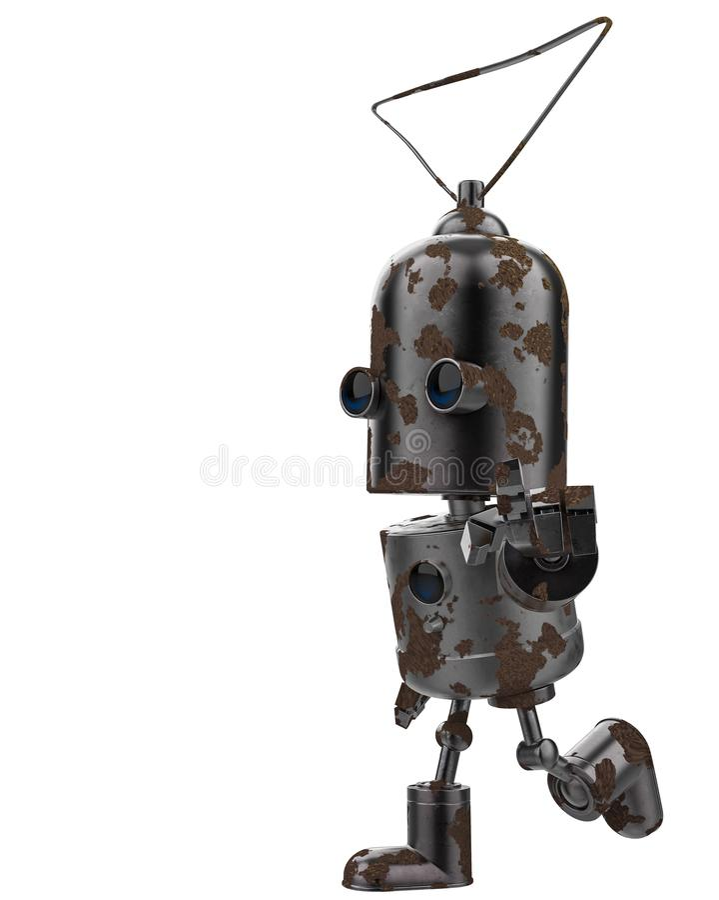 微型铁机器人在白色背景中 向量例证