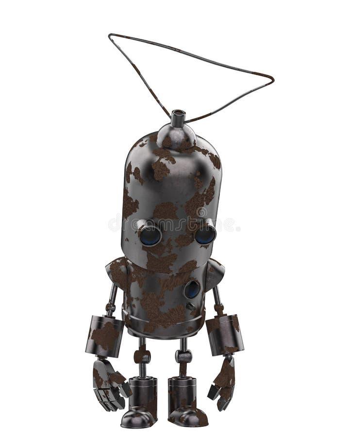 微型铁机器人在白色背景中 库存例证