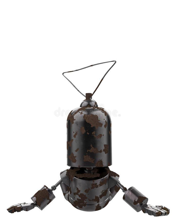 微型铁机器人在白色背景中 皇族释放例证