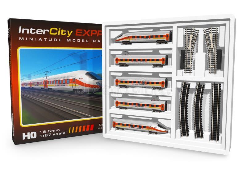 微型铁路集合玩具 库存例证