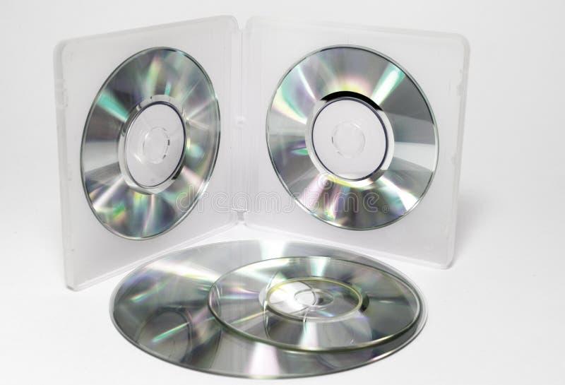 微型CDs的盒 两面的半透明的p内在盘子  免版税库存图片
