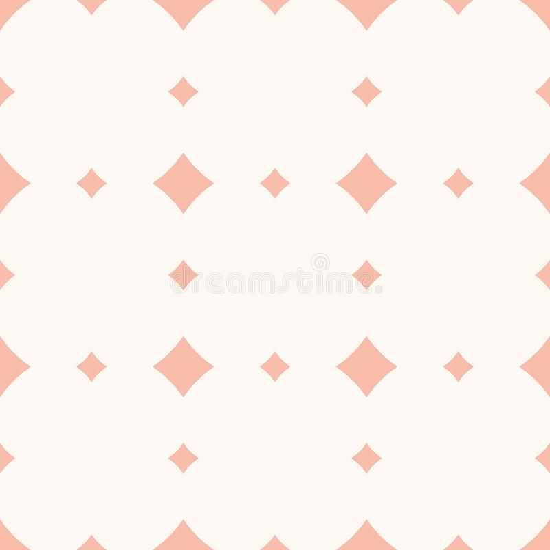 微妙的与金刚石形状,菱形,正方形的桃红色传染媒介无缝的样式 皇族释放例证