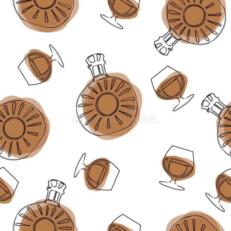 微小的乱画样式酒精玻璃无缝的传染媒介样式 自由手拉,参差不齐的边缘 马蒂尼鸡尾酒,香槟,鸡尾酒,白兰地酒, ma 向量例证