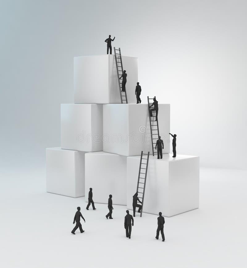 微小的人员上升的梯子 皇族释放例证