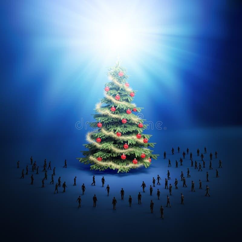 微小的人圣诞树。 向量例证