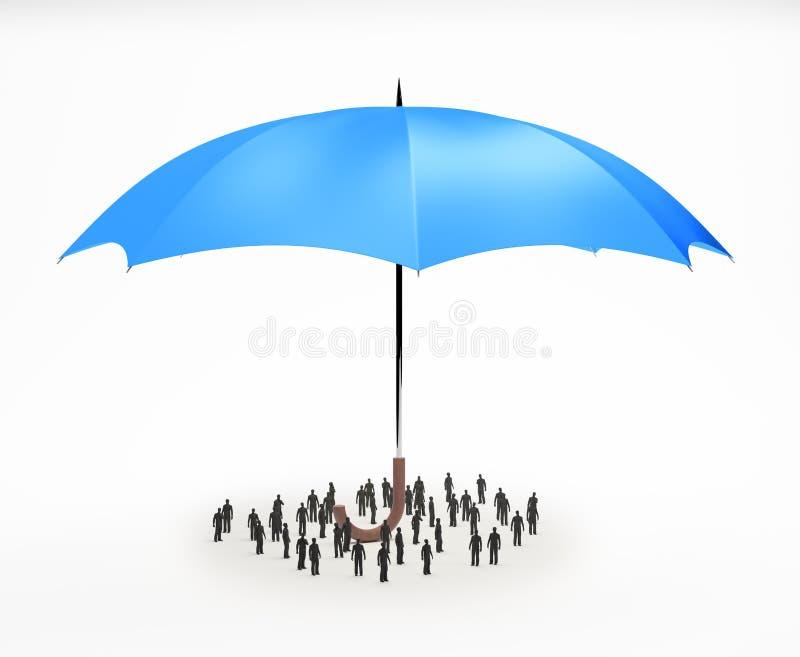 微小的人在伞下 向量例证