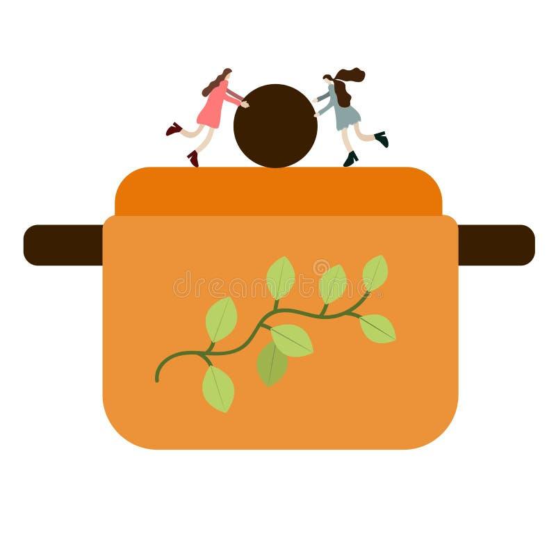微小的人民打开平底锅的盒盖 帮助准备食物 微型人民他们的生活在厨房里,超现实主义,抽象, 库存例证