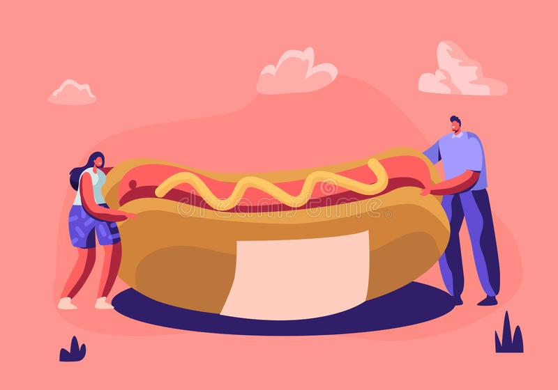微小的人藏品巨大的热狗用黄色芥末 咖啡馆工作者或访客逗人喜爱的微型场面有便当的 菜单设计 皇族释放例证