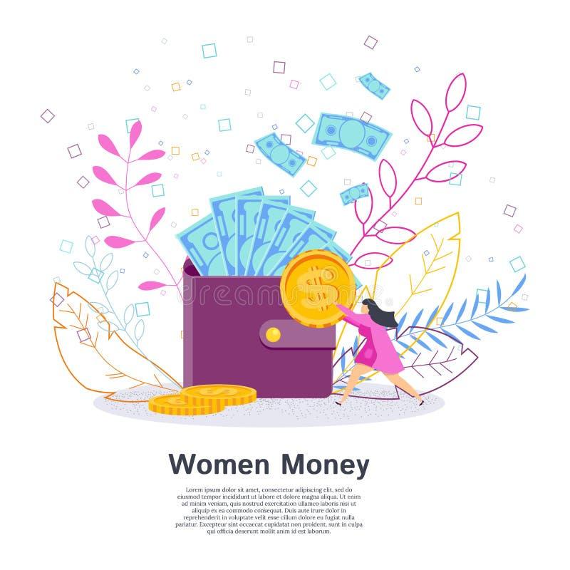 微小的妇女在大钱包投入硬币 企业夫人和投资 向量例证