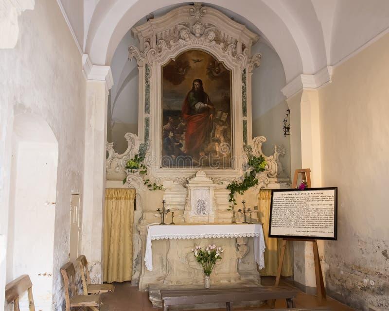 微小的教堂致力在来临的传奇圣保罗向加拉蒂纳 免版税库存图片