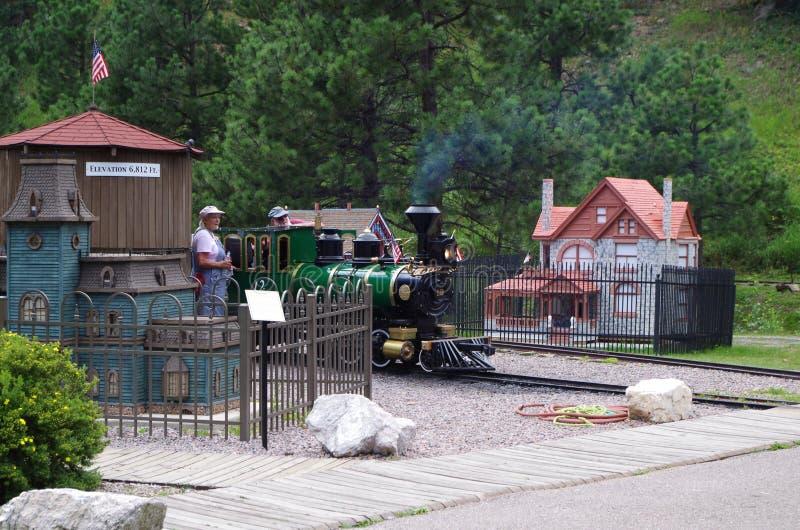 微小的镇微型火车 库存图片