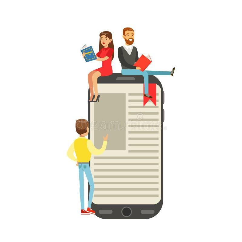 微少妇和人坐一本大电子书,人们喜欢读传染媒介例证 向量例证