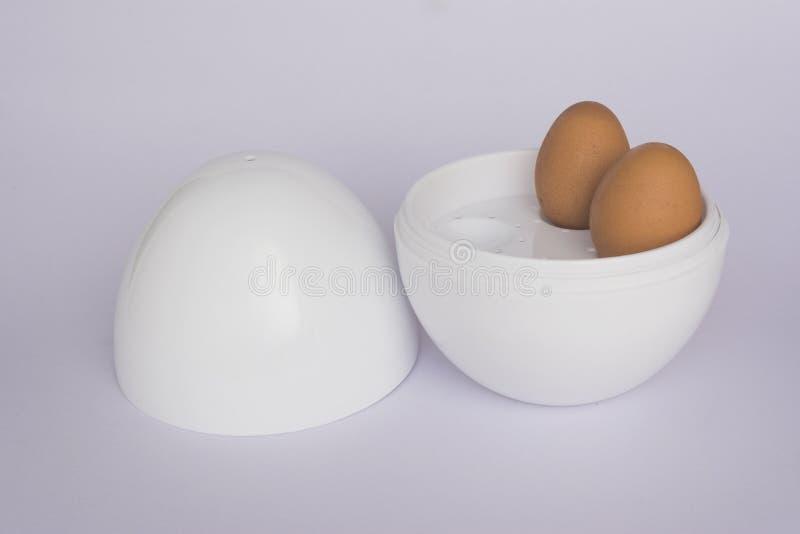 微波蛋锅炉用2个鸡蛋 库存图片