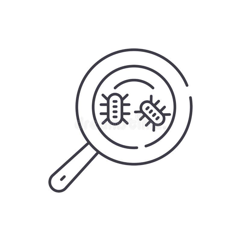 微生物分析线象概念 微生物分析传染媒介线性例证,标志,标志 向量例证