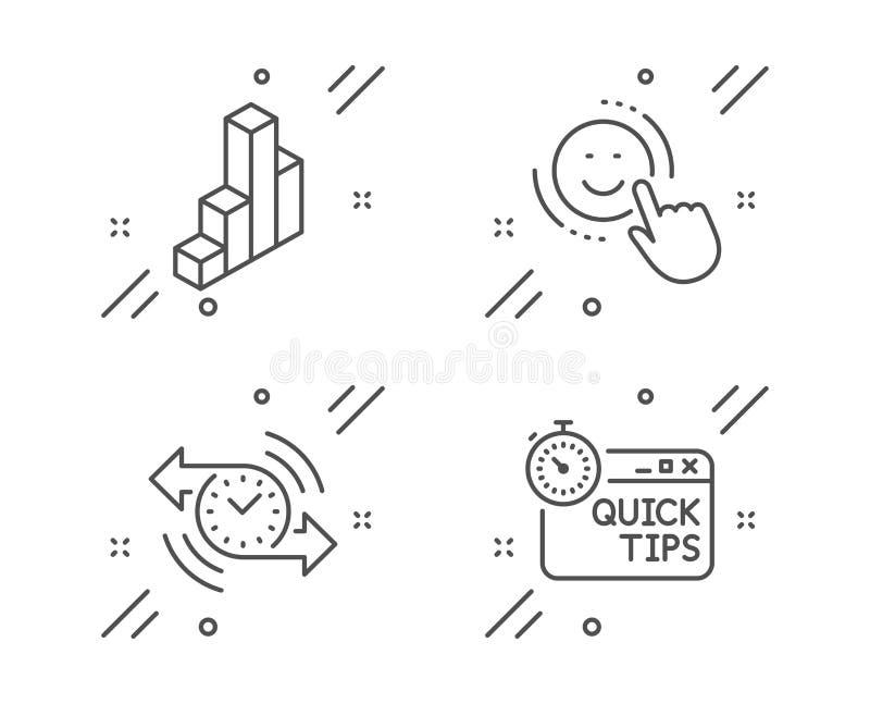 微笑、定时器和3d图象集合 r 正面反馈,秒表,介绍专栏 ?? 库存例证
