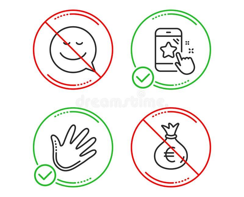微笑、手和星对估计的象集合 金钱袋子标志 聊天情感,重击,电话反馈 欧元货币 ?? 皇族释放例证