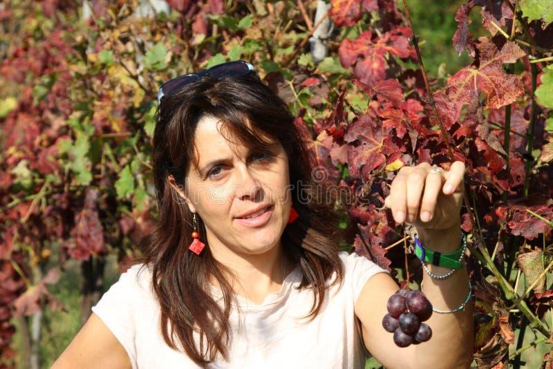 微笑与一束小的葡萄的美丽的妇女在秋天 免版税库存图片