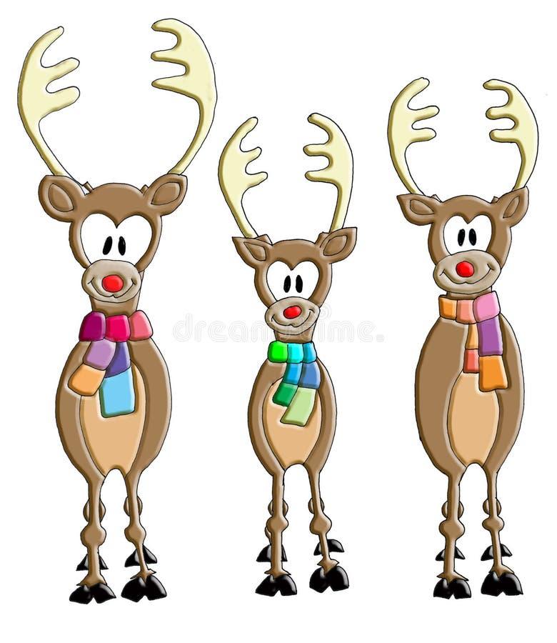 微笑与围巾的三头讽刺驯鹿 库存照片