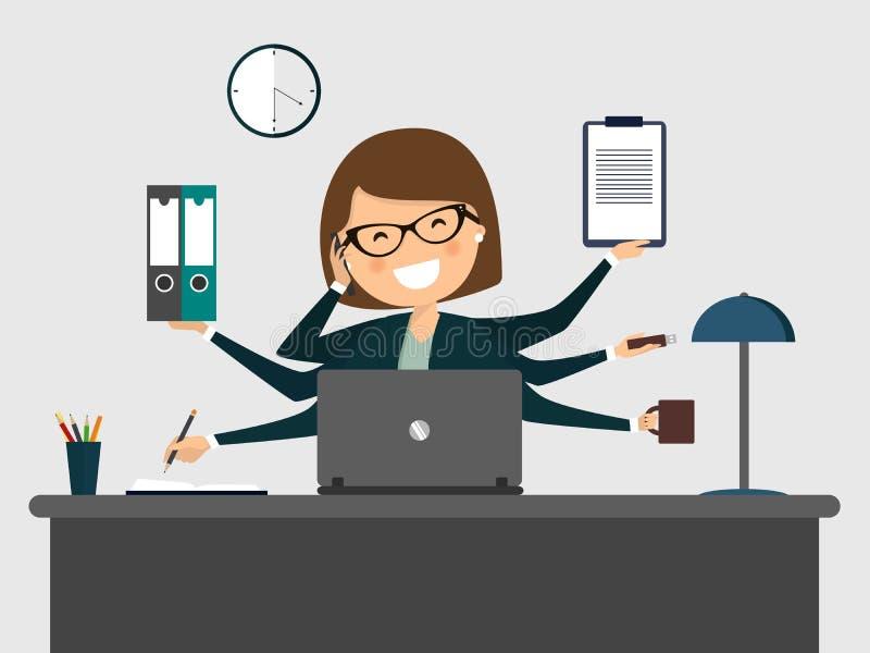 微笑与膝上型计算机的繁忙的秘书 库存例证