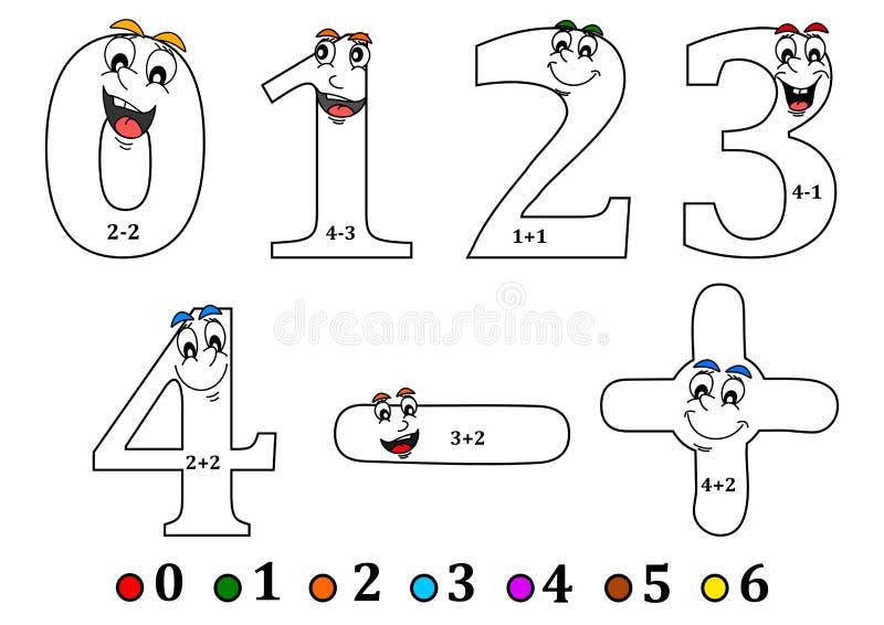 微笑为上色编号如计数为孩子-彩图 皇族释放例证