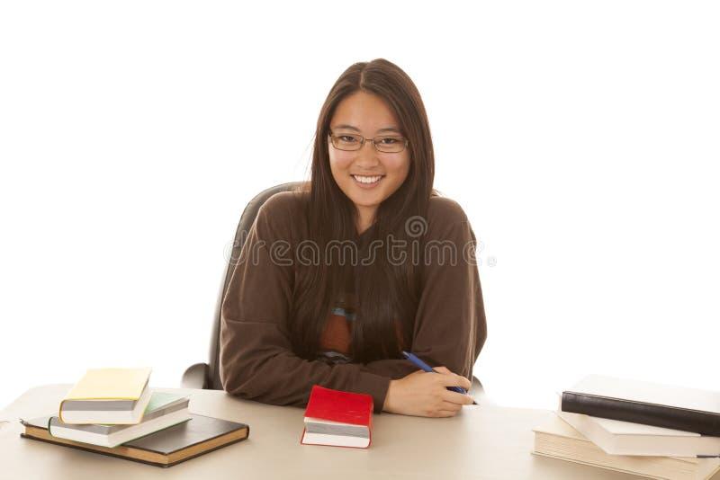 微笑书笔 免版税库存照片